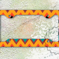 Monogrammed Aztec Ikat chevron License Plate Frame, personalized tribal chevron car tag, customized front plate frame
