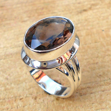 Smoky Quartz Ring - Designer Ring, Statement Ring, Fine Silver Ring, Engagement Ring, Best Selling Ring
