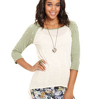 Belle Du Jour Juniors Top, Three-Quarter Sleeve High-Low Baseball Tee - Juniors JUNIORS' SALE & CLEARANCE - Macy's
