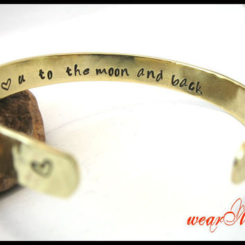 "Personalized Bracelet-""I love you to the moon and back""- Hand Stamped Brass Bracelet. Custom bracelet.. Bangle bracelet.."