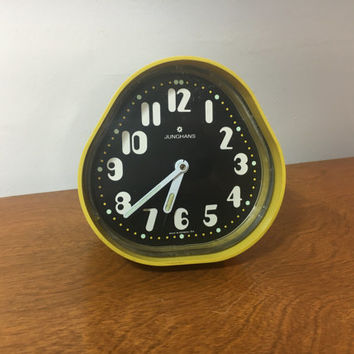 JUNGHANS Retro MCM Yellow and Black PM Alarm Clock made in West Germany