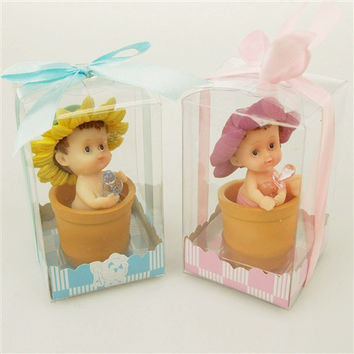 Polyresin Baby Shower Favors, 4-1/2-inch, Flower Pot Baby, Pink