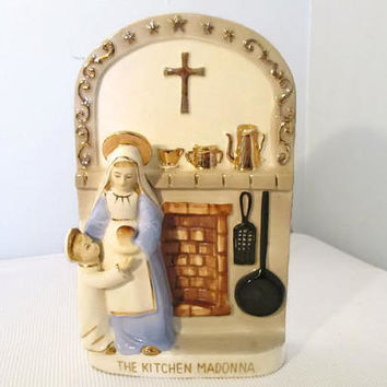 Kitchen Madonna by Sanmyro of Japan, 1950's Kitsch, Mid Century Religious Decor