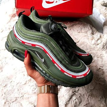 NIKE AIR MAX 97 Women Men Casual Running Sports Sneakers Black B-CSXY Army green