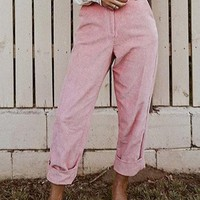 New Pink Corduroy Pockets Buttons High Waisted Casual Pant