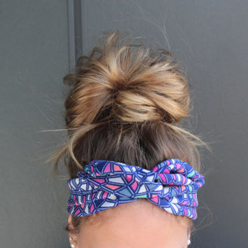 Geometric Summer Twist Head Scarf Dolly Bow Wire Headband Bun Wrap