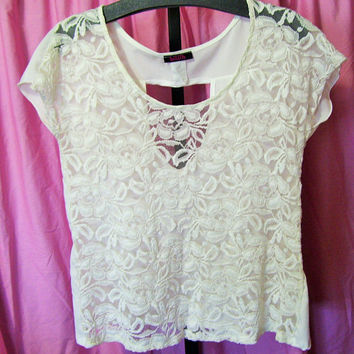 White Lace, Summer Blouse, Top, Size Large,  (Juniors), Cap Sleeve, Peek-a-boo Back, By Blush, Resort Cruise, Beach Wear, School Clothes