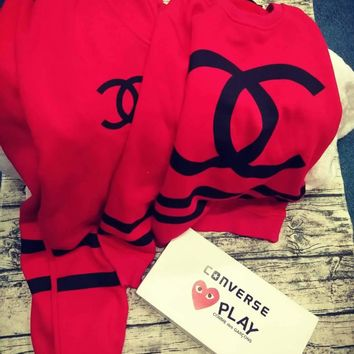 Chanel Big Logo Print Red Two Piece Sportswear Sweater I