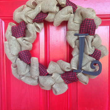 Spring Wreath - Bubble Burlap Wreath with Hounds Tooth Ribbon Intertwinned and Monogram- Great Fall Wreath, Winter Wreath or anytime wreath