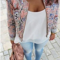 Paisley Print Long-Sleeve Zipper Blazer