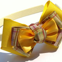 yellow headband with bow- plaid stacked bow- hair accessories