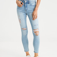 AE High-Waisted Jegging Crop, Embroidered Indigo