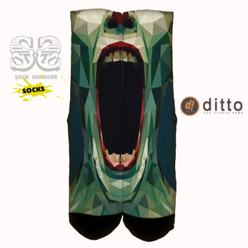 AMERICAN HORROR STORY ASYLUM SCREAM Sock Swagger Custom Crew Socks! Fast Shipping With Free Order Tracking