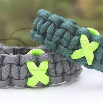 Lyme Disease Lymphoma Muscular Dystrophy Awareness Ribbon 550 Paracord Survival Strap Bracelet Anklet with Buckle