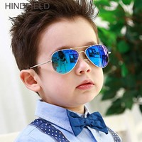 2018 New Kids Sunglasses Girls Boys Fashion Retro Pilot Children Sunglasses Vintage Blue Mirror Sun Glasses Baby Eyewear UV400