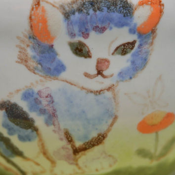 Porcelain cup and saucer with glaze painting for child handmade tableware