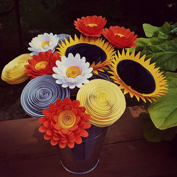 Paper Flower Bouquet - Handmade Sunflowers, Orange Daisies, Yellow & Gray Rolled Paper Flowers - Perfect for summer weddings