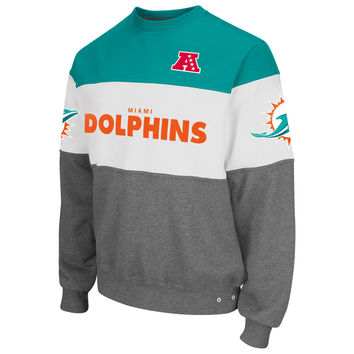 Miami Dolphins G-III Sports by Carl Banks Era Crew Fleece Sweatshirt - Aqua/Gray