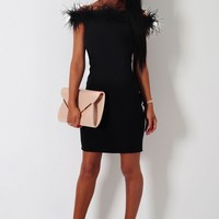 Naeema Black Feather Trim Mini Dress | Pink Boutique
