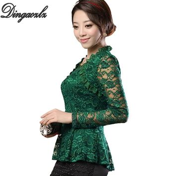 M-4XL Plus size Women clothing Elegant ruffles Lace Tops Fashion Floral Casual shirt Sexy Ladies Long sleeve lace blouse