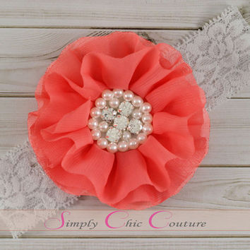 CORAL Flower Girl Headband, Rhinestone Hair Clip, Flower Girl Hair Clip, Wedding Hair Accessories, Bridesmade Hair Clip, Hair Accessories