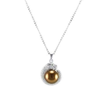 Joezoe CZ Brown Pearl Panther Silver Necklace