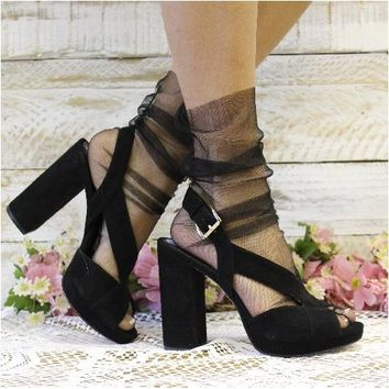 TULLE sheer sock for heels - black
