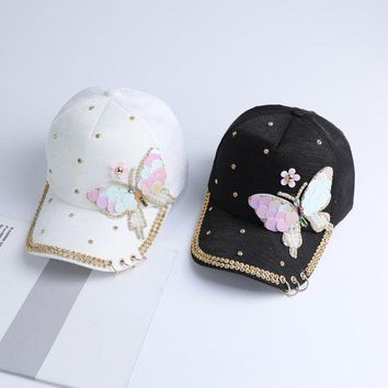 DCCKU62 Summer Plain Cotton Women Metal Baseball Cap Snapback Hip Hop Caps 2017 Casual Butterfly Sequins Baseball Caps Hats