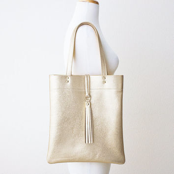 Metallic Platinum Gold Leather Tote with Tassel, Everyday Shoulder Bag, Minimal Leather Tote, Leather Shopper Tote