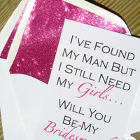 Be My Bridesmaid Card // Fuchsia Glitter Liner // White Envelope