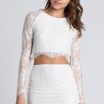 2014 For Love & Lemons Lolo Crop Top in White
