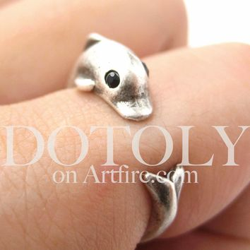 Dolphin Sea Animal Wrap Ring in Silver - Sizes 4 to 7 Only