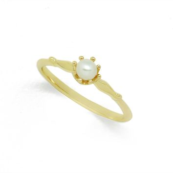 Natural White Pearl Simple Crown Distinguish 925 Sterling Silver Ring