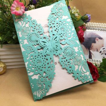 30Pcs/lot Romantic Wedding Invitation Cards Butterfly Pattern
