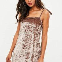 Missguided - Brown Crushed Velvet Strappy Slip Dress