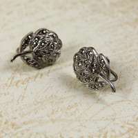 Vintage Theda Marcasite Sterling Silver Flower Screwback Earrings