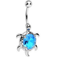 Aqua Gem Swimming Turtle Belly Ring | Body Candy Body Jewelry
