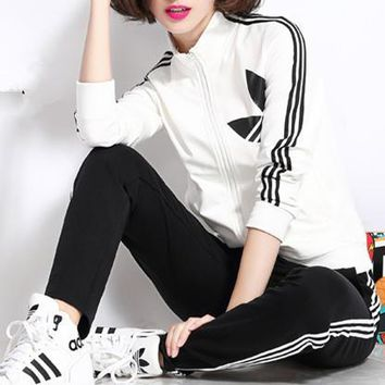 """Adidas"" Fashion Casual Stripe Clover Print Long Sleeve Cardigan Cotton Sweater Set Tw"