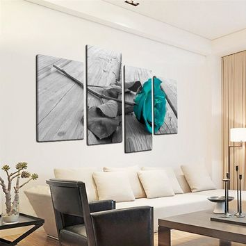 Large Blue Rose Floral Canvas Wall Art Picture on Grey Split Set Big Modern Flowers Home Decorations Prints Multi Turquoise Art