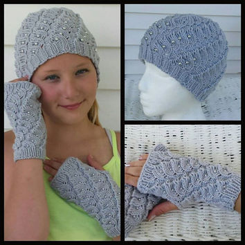 Set of Gray Knitted Winter Hat decorated with beads and matching Fingerless Mittens.