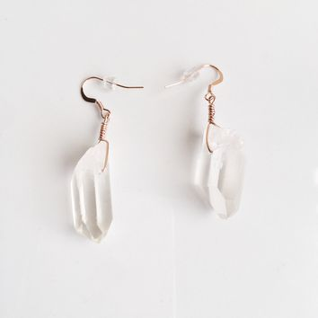 Raw Intuition - Crystal Quartz Wire Wrapped 14k Rose Gold Filled Earrings