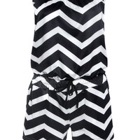 Casual Strapless Pocket Zigzag Striped Romper