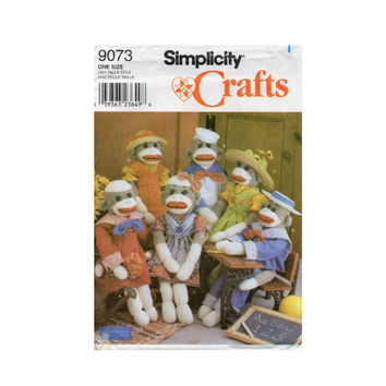 Simplicity Pattern 9073 Sock Monkeys And Clothes Uncut
