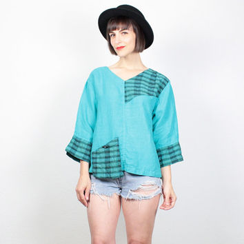 Vintage 90s Shirt Teal Green Patchwork Plaid Tunic Top 1990s Shirt Soft Grunge Shirt Blouse Top Boho Draped Asymmetric Linen Blouse M Medium