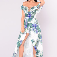 Celestine Tropical Dress - Ivory/Royal