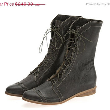 New Years SALE New! Jackie, Olive Boots, Leather Boots, Brown Boots, Flats, Handmade Shoes