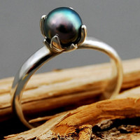 Bethany- Promise ring, blue gray, Akoya pearl, pearl ring, Argentium Silver, custom order, EtsyFreeShipping, Christmas, gift