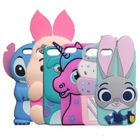 3D Cartoon Stitch Case For Apple iphone X 8 7 6 Plus 4S SE 5 5G 5S 5C Rabbit Horse Sulley Cover