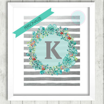 xPersonalized Inital Printable, Watercolor Print, Instant Download, Seagreen Wreath Print, Nursery Gift, Gift For Her, Birthday Gift