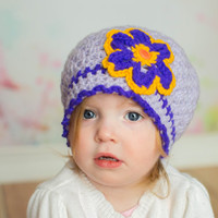 Toddler crocheted hat, 2T 3T, lavender beret, flower girly hat, made to order, crochet shop, custom made, child adult size, daughter gift